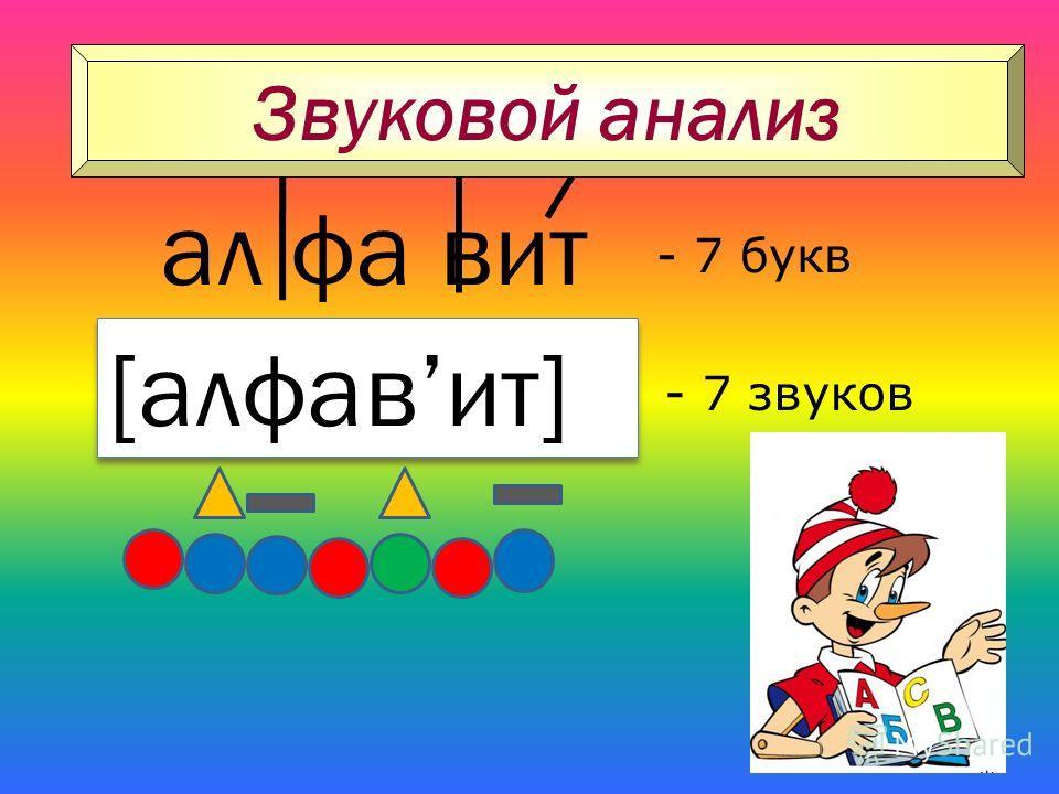 ал фа вит [алфавит] - 7 букв - 7 звуков Звуковой анализ