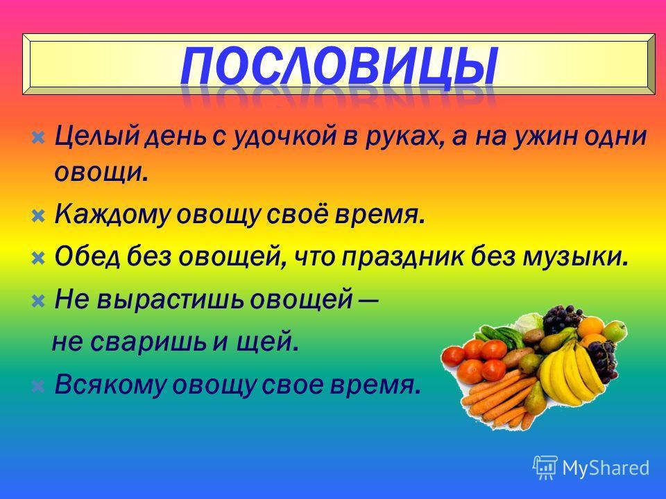 Целый день с удочкой в руках, а на ужин одни овощи. Каждому овощу своё время. Обед без овощей, что праздник без музыки. Не вырастишь овощей не сваришь и щей. Всякому овощу свое время.