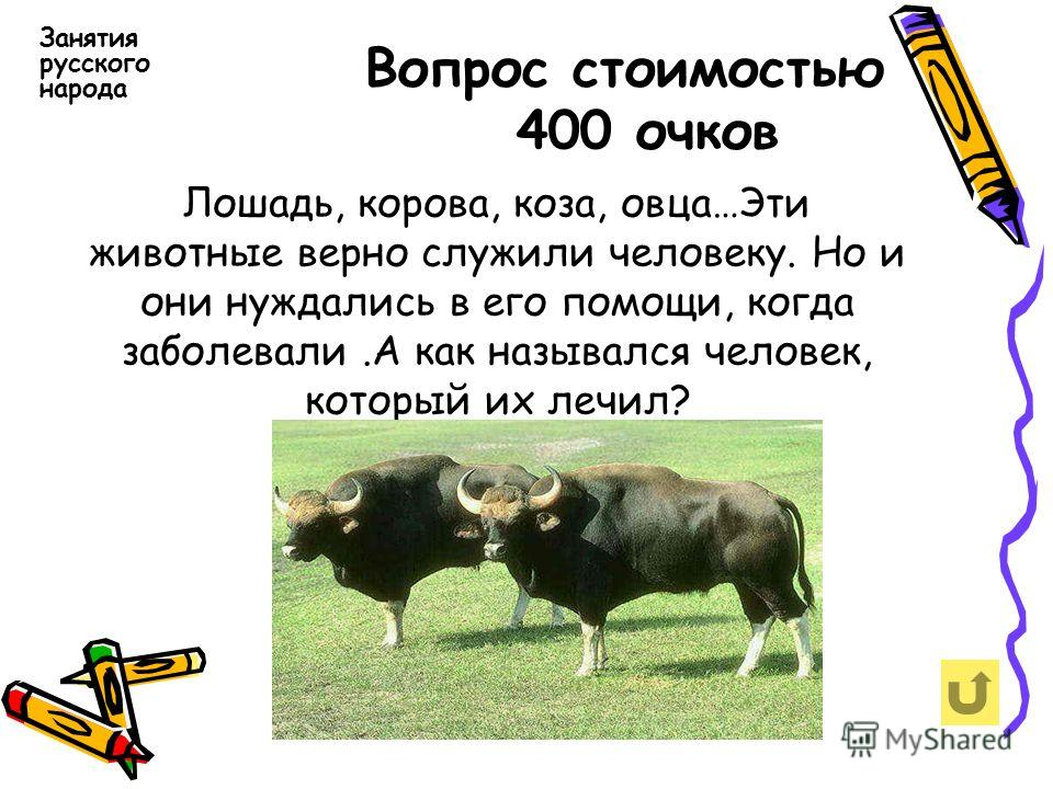 Вопрос стоимостью 400 очков Занятия русского народа Лошадь, корова, коза, овца…Эти животные верно служили человеку. Но и они нуждались в его помощи, когда заболевали.А как назывался человек, который их лечил?