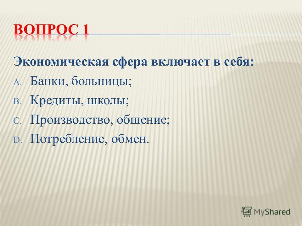 Экономическая сфера включает в себя : A. Банки, больницы ; B. Кредиты, школы ; C. Производство, общение ; D. Потребление, обмен.
