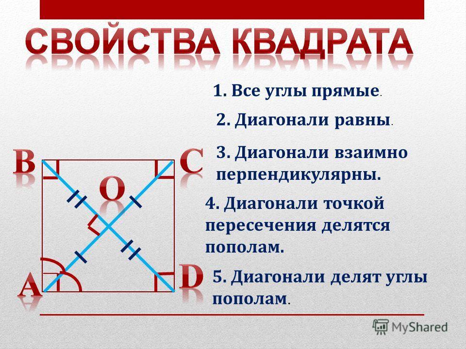 1. Все углы прямые. 2. Диагонали равны. 3. Диагонали взаимно перпендикулярны. 4. Диагонали точкой пересечения делятся пополам. 5. Диагонали делят углы пополам.
