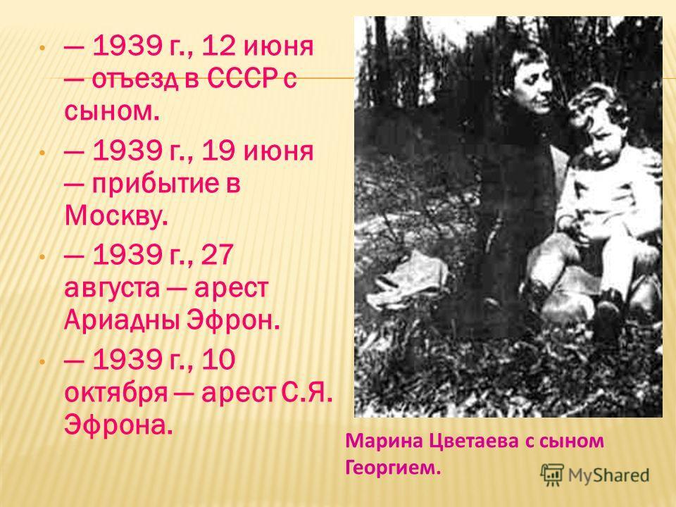 В 1939 году Марина Цветаева вернулась наконец на родную землю… 27