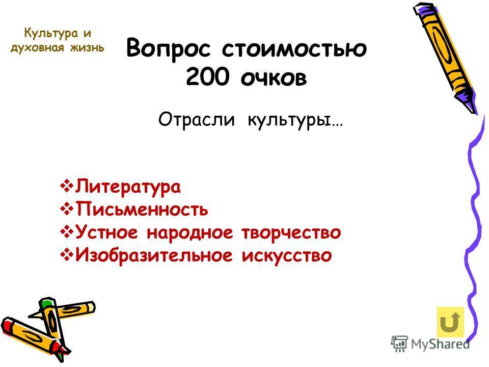 Вопрос стоимостью 200 очков Культура и духовная жизнь Отрасли культуры… Литература Письменность Устное народное творчество Изобразительное искусство