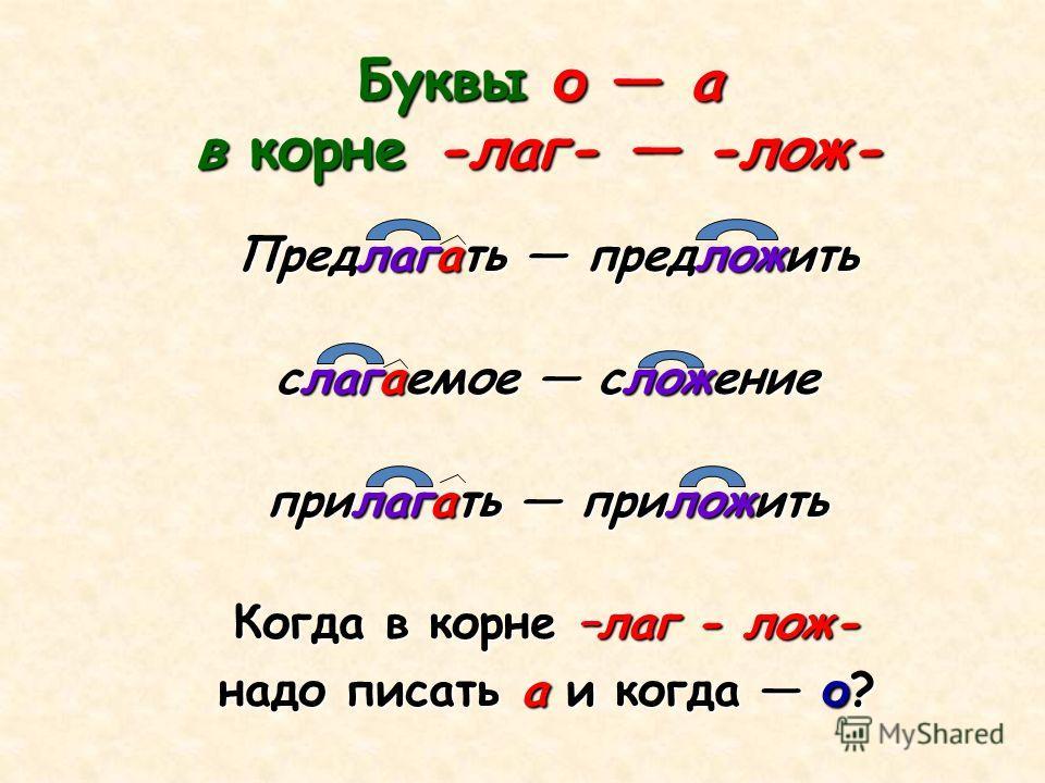 Буквы о а в корне -лаг- -лож- Предлагать предложить слагаемое сложение прилагать приложить Когда в корне –лаг - лож- надо писать а и когда о?