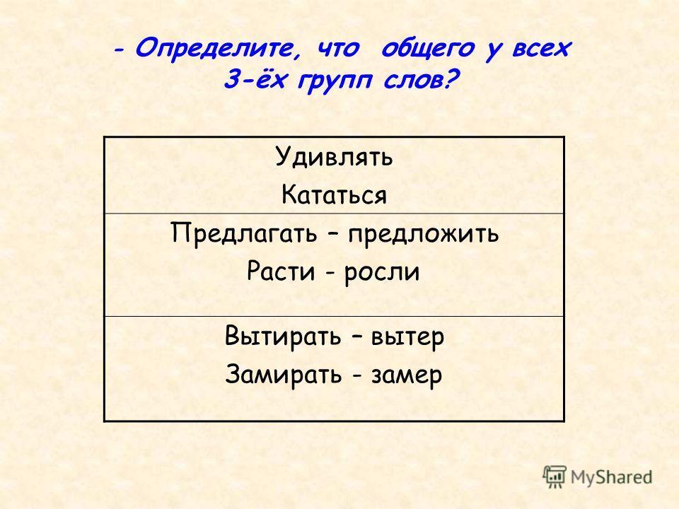- Определите, что общего у всех 3-ёх групп слов? Удивлять Кататься Предлагать – предложить Расти - росли Вытирать – вытер Замирать - замер