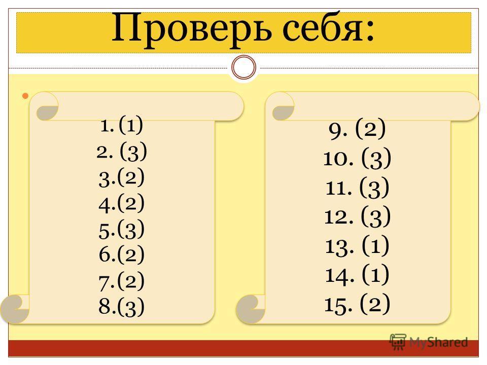 Проверь себя: 1.(1) 2. (3) 3.(2) 4.(2) 5.(3) 6.(2) 7.(2) 8.(3) 1.(1) 2. (3) 3.(2) 4.(2) 5.(3) 6.(2) 7.(2) 8.(3) 9. (2) 10. (3) 11. (3) 12. (3) 13. (1) 14. (1) 15. (2) 9. (2) 10. (3) 11. (3) 12. (3) 13. (1) 14. (1) 15. (2)