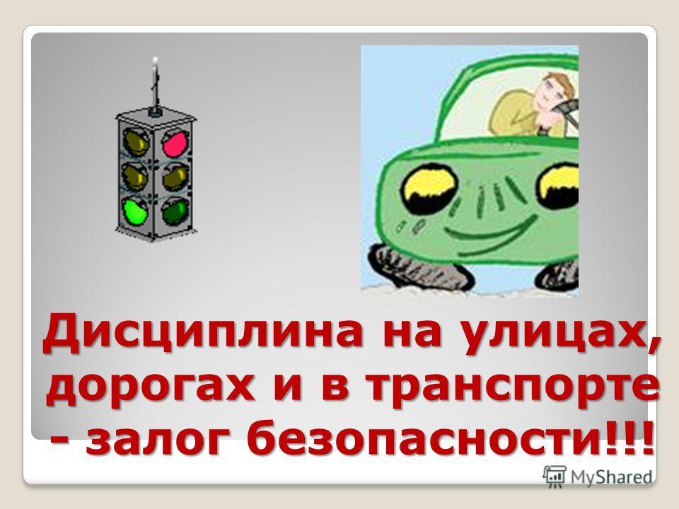 Дисциплина на улицах, дорогах и в транспорте - залог безопасности!!!
