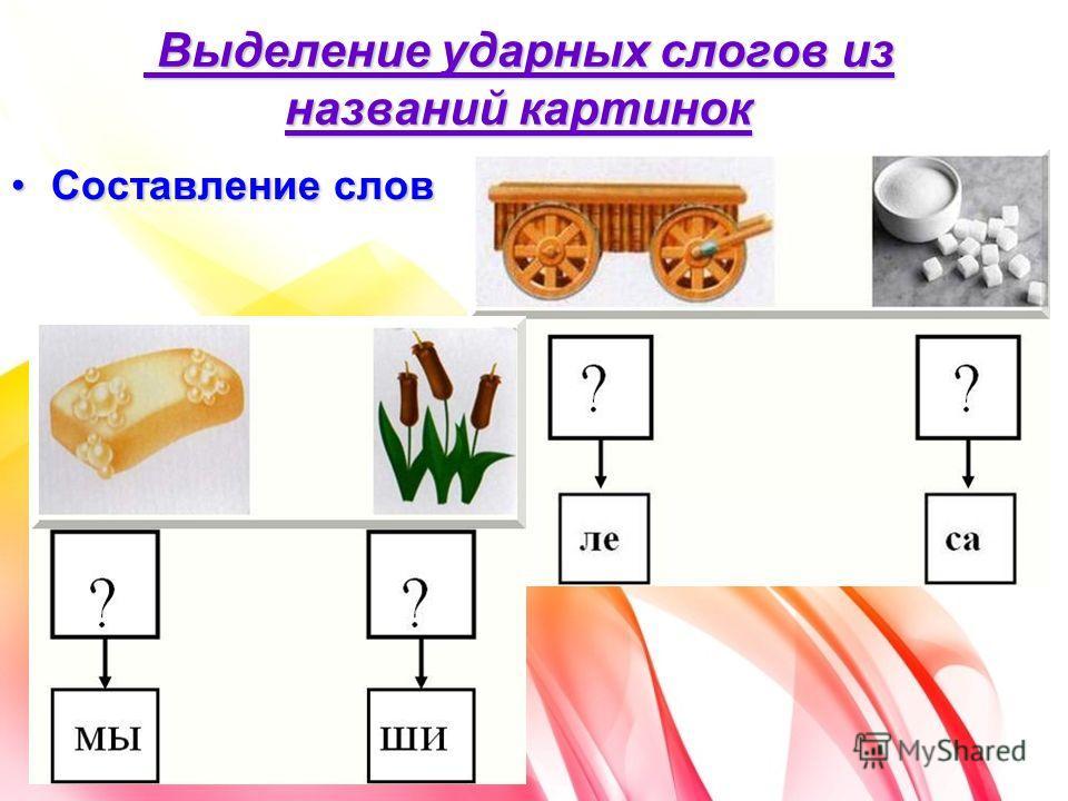 Выделение ударных слогов из названий картинок Выделение ударных слогов из названий картинок Составление словСоставление слов