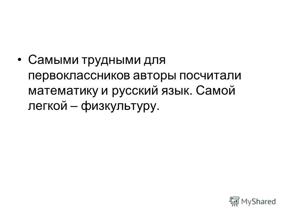 Самыми трудными для первоклассников авторы посчитали математику и русский язык. Самой легкой – физкультуру.