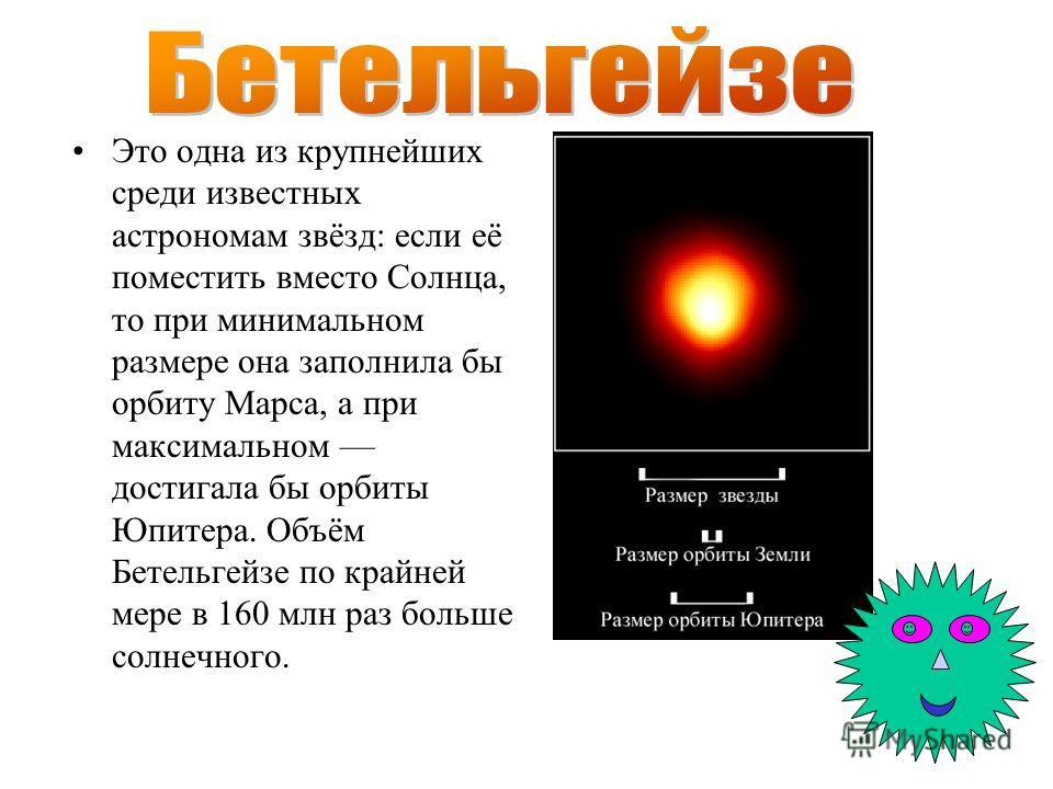 Это одна из крупнейших среди известных астрономам звёзд: если её поместить вместо Солнца, то при минимальном размере она заполнила бы орбиту Марса, а при максимальном достигала бы орбиты Юпитера. Объём Бетельгейзе по крайней мере в 160 млн раз больше
