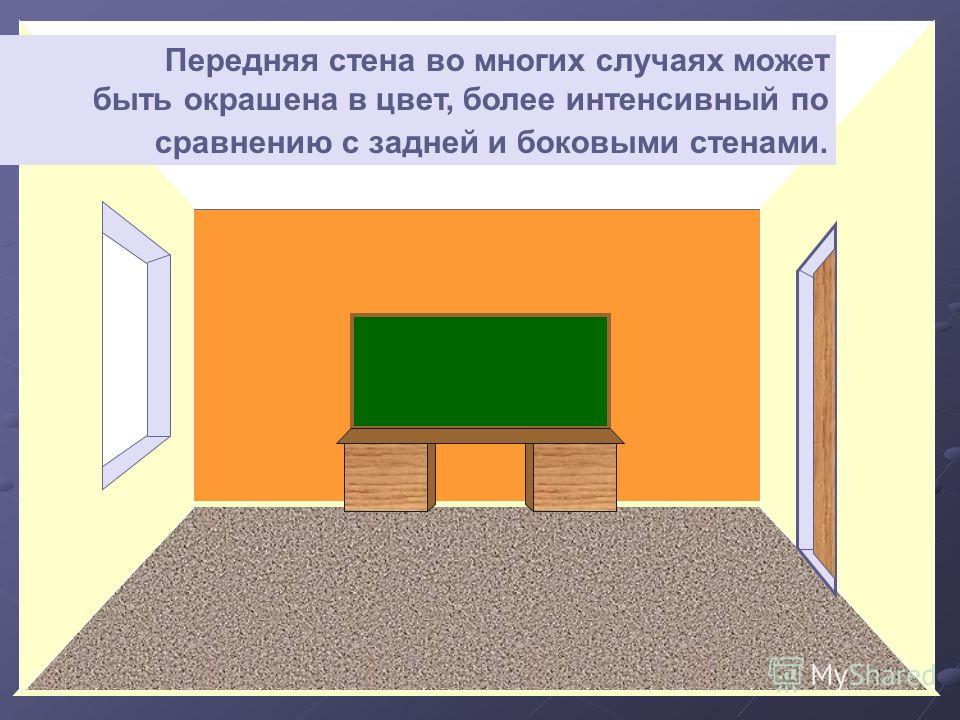 Передняя стена во многих случаях может быть окрашена в цвет, более интенсивный по сравнению с задней и боковыми стенами.
