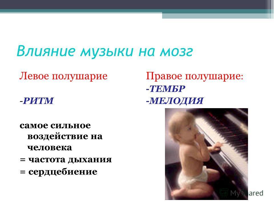 Влияние музыки на мозг Левое полушарие -РИТМ самое сильное воздействие на человека = частота дыхания = сердцебиение Правое полушарие : -ТЕМБР -МЕЛОДИЯ