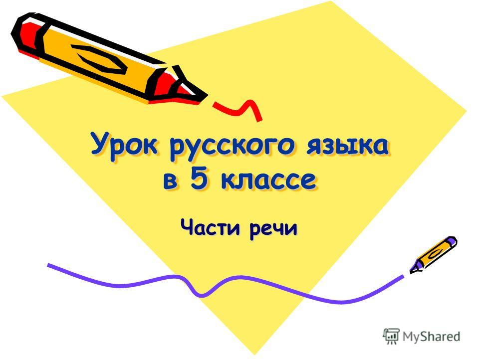 Урок русского языка в 5 классе Части речи