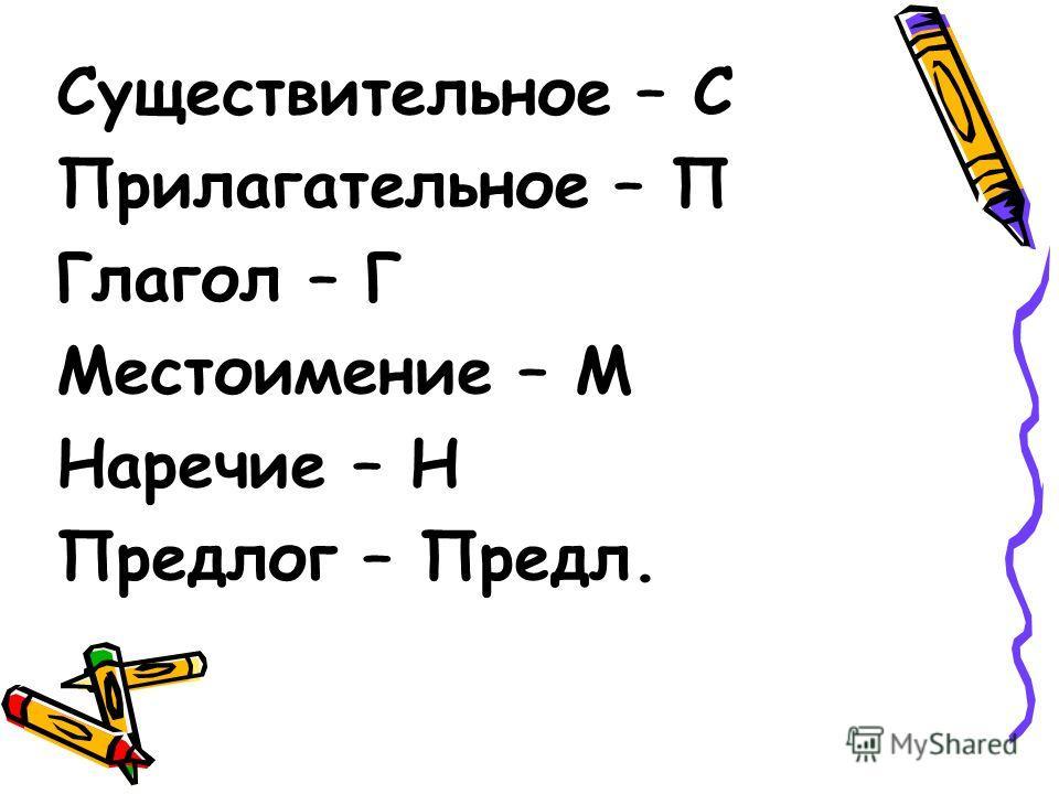 Существительное – С Прилагательное – П Глагол – Г Местоимение – М Наречие – Н Предлог – Предл.