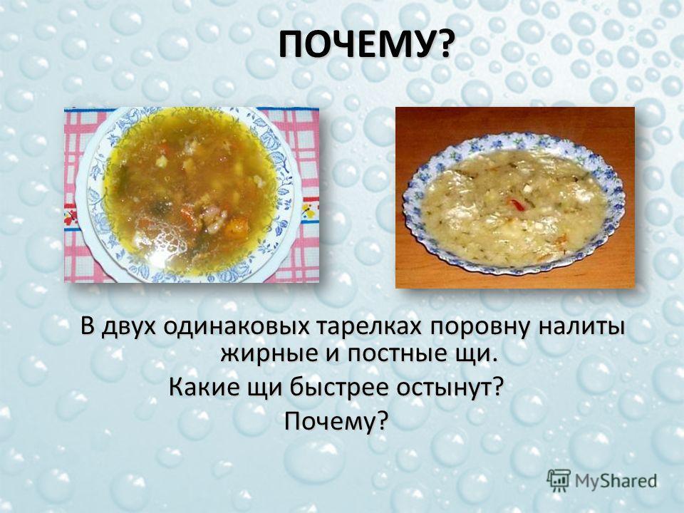 В двух одинаковых тарелках поровну налиты жирные и постные щи. В двух одинаковых тарелках поровну налиты жирные и постные щи. Какие щи быстрее остынут? Почему?ПОЧЕМУ?