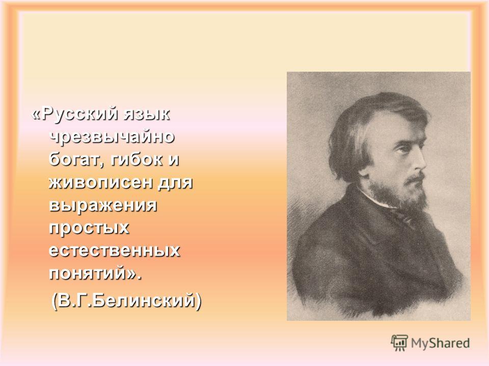 «Русский язык чрезвычайно богат, гибок и живописен для выражения простых естественных понятий». (В.Г.Белинский)