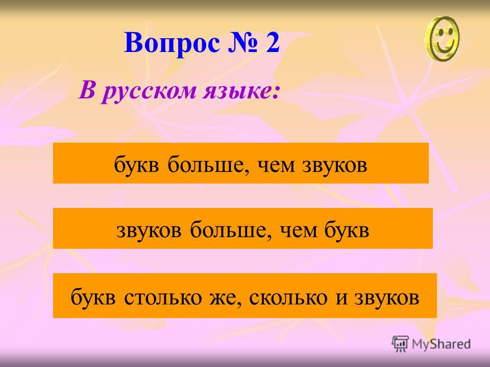 Вопрос 2 звуков больше, чем букв букв больше, чем звуков букв столько же, сколько и звуков В русском языке: