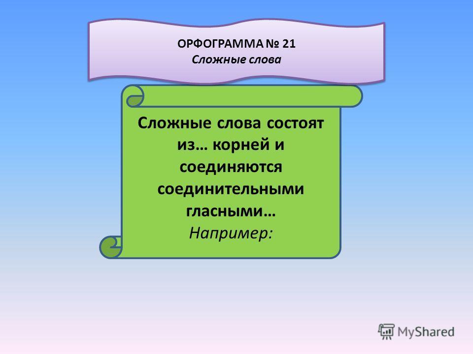 Сложные слова состоят из… корней и соединяются соединительными гласными… Например: ОРФОГРАММА 21 Сложные слова ОРФОГРАММА 21 Сложные слова
