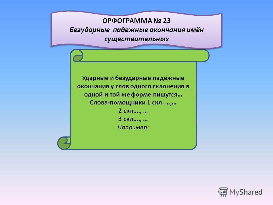 Ударные и безударные падежные окончания у слов одного склонения в одной и той же форме пишутся… Слова-помощники 1 скл. …,… 2 скл…., … 3 скл…., … Например: ОРФОГРАММА 23 Безударные падежные окончания имён существительных ОРФОГРАММА 23 Безударные падеж