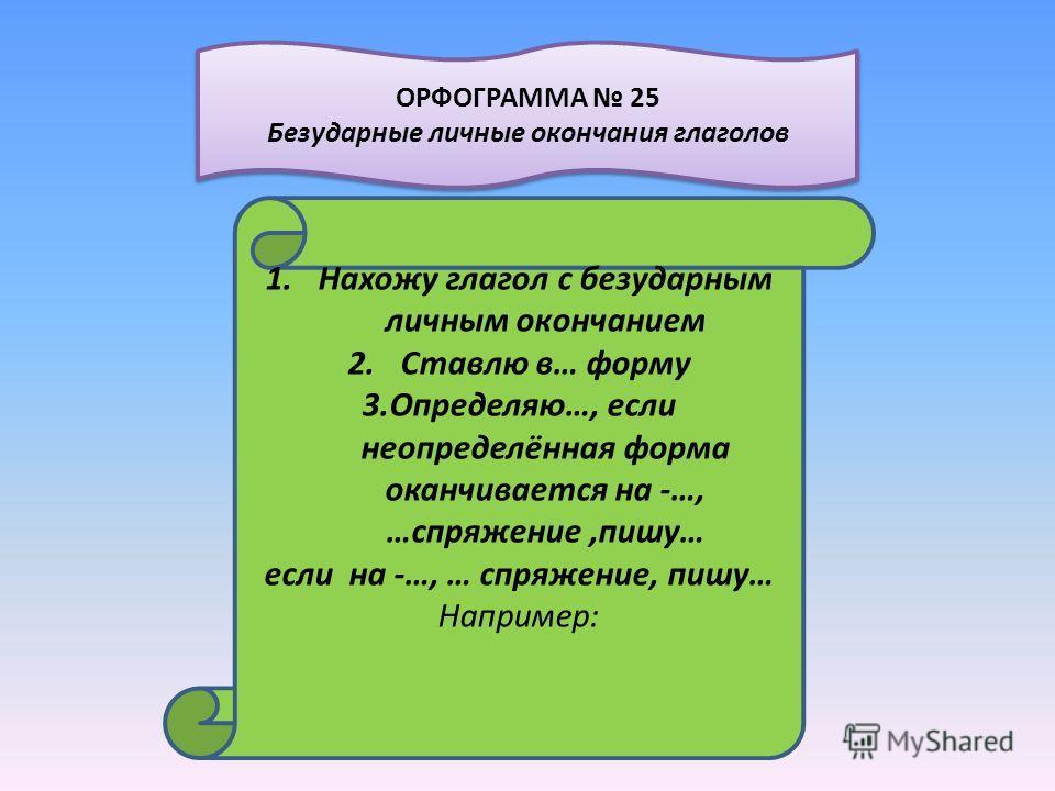 1.Нахожу глагол с безударным личным окончанием 2.Ставлю в… форму 3.Определяю…, если неопределённая форма оканчивается на -…, …спряжение,пишу… если на -…, … спряжение, пишу… Например: ОРФОГРАММА 25 Безударные личные окончания глаголов ОРФОГРАММА 25 Бе