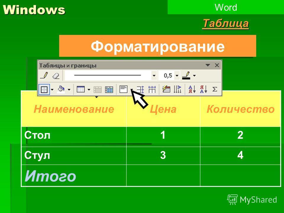 Windows WordТаблица НаименованиеЦенаКоличество Стол12 Стул34 Итого Форматирование