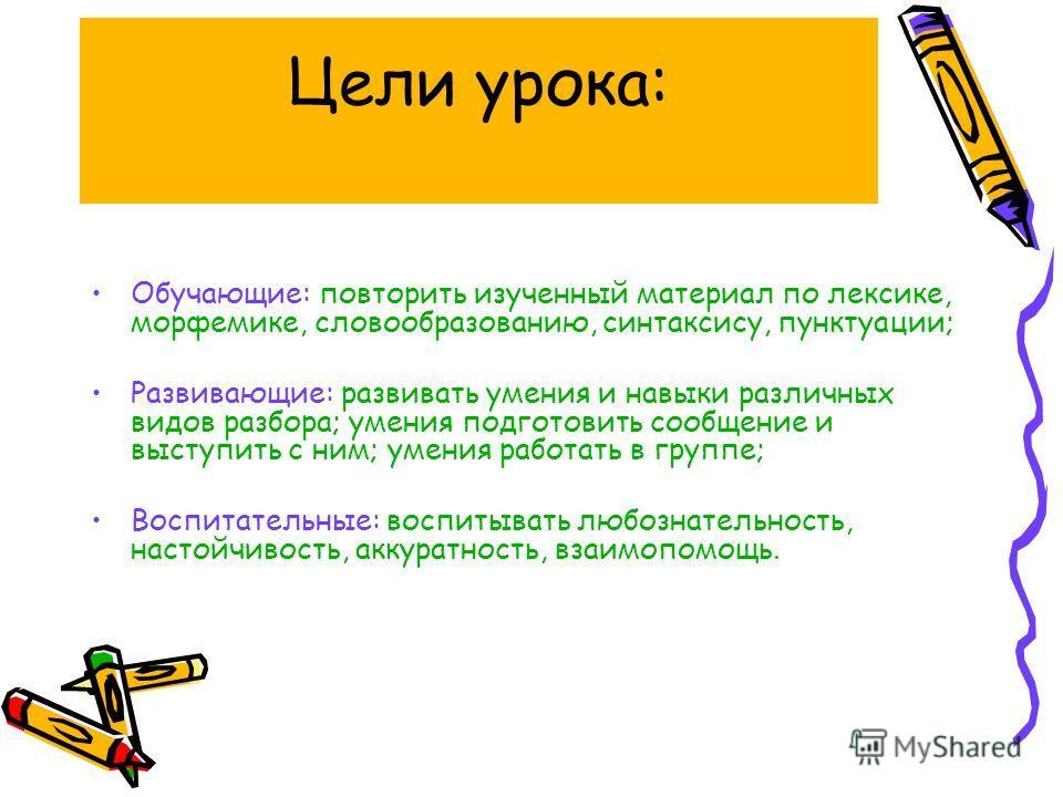 Цели урока: Обучающие: повторить изученный материал по лексике, морфемике, словообразованию, синтаксису, пунктуации; Развивающие: развивать умения и навыки различных видов разбора; умения подготовить сообщение и выступить с ним; умения работать в гру