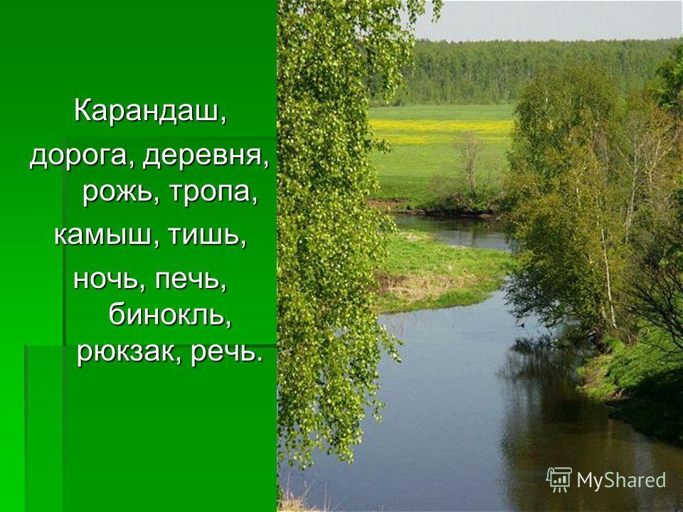 Карандаш, дорога, деревня, рожь, тропа, камыш, тишь, ночь, печь, бинокль, рюкзак, речь.
