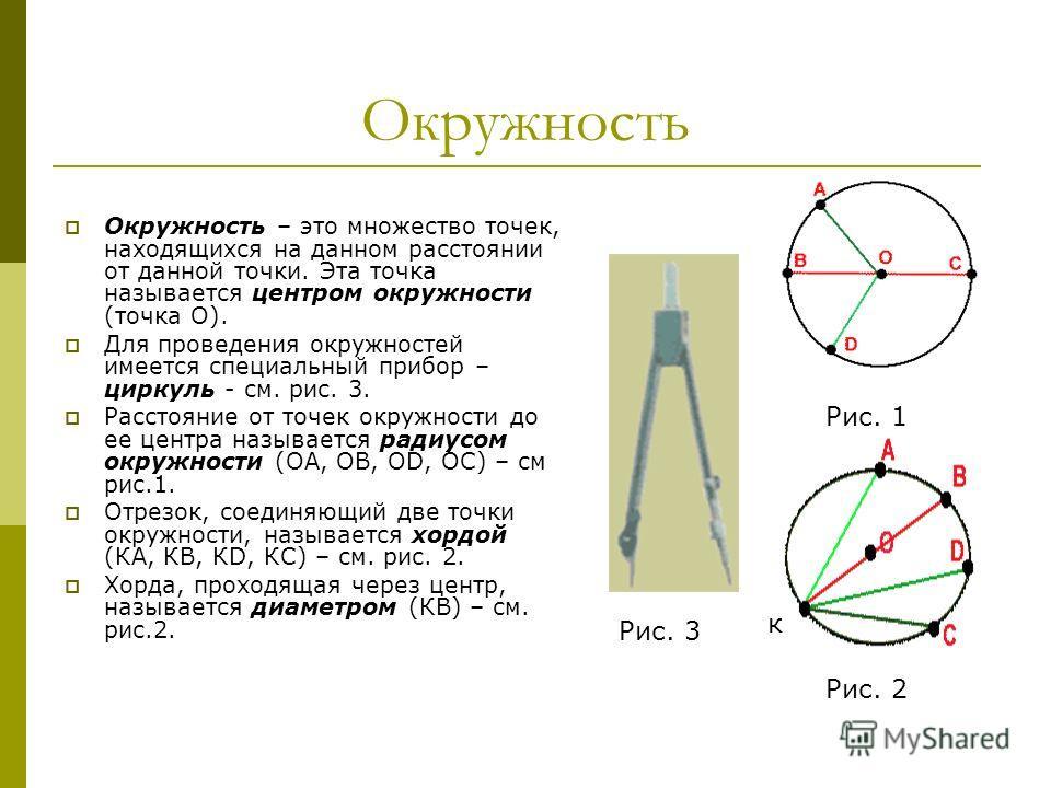 Окружность Окружность – это множество точек, находящихся на данном расстоянии от данной точки. Эта точка называется центром окружности (точка О). Для проведения окружностей имеется специальный прибор – циркуль - см. рис. 3. Расстояние от точек окружн