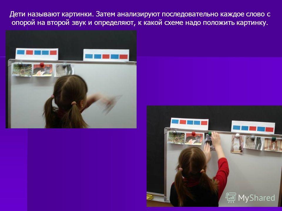 Дети называют картинки. Затем анализируют последовательно каждое слово с опорой на второй звук и определяют, к какой схеме надо положить картинку.