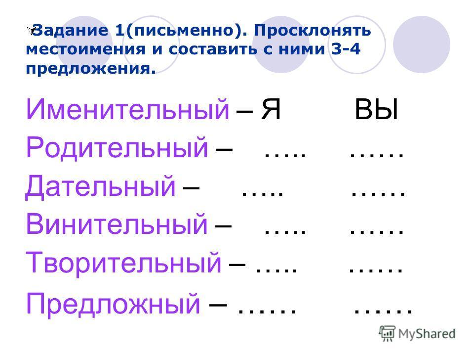 Именительный – Я ВЫ Родительный – ….. …… Дательный – ….. …… Винительный – ….. …… Творительный – ….. …… Предложный – …… …… Задание 1(письменно). Просклонять местоимения и составить с ними 3-4 предложения.