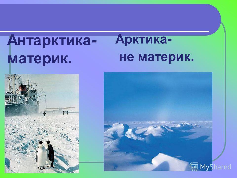 Антарктика- материк. Арктика- не материк.