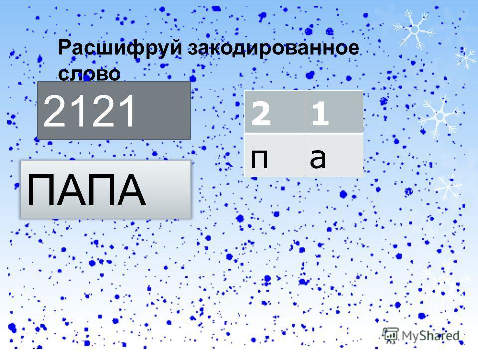 Расшифруй закодированное слово 2121 21 па ПАПА