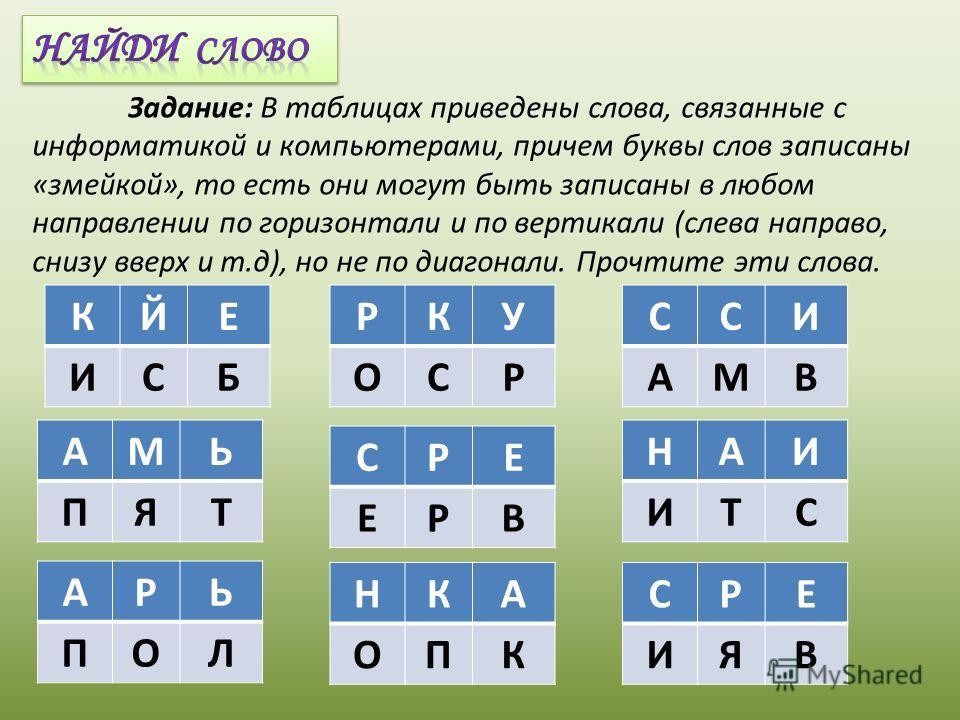 Задание: В таблицах приведены слова, связанные с информатикой и компьютерами, причем буквы слов записаны «змейкой», то есть они могут быть записаны в любом направлении по горизонтали и по вертикали (слева направо, снизу вверх и т.д), но не по диагона