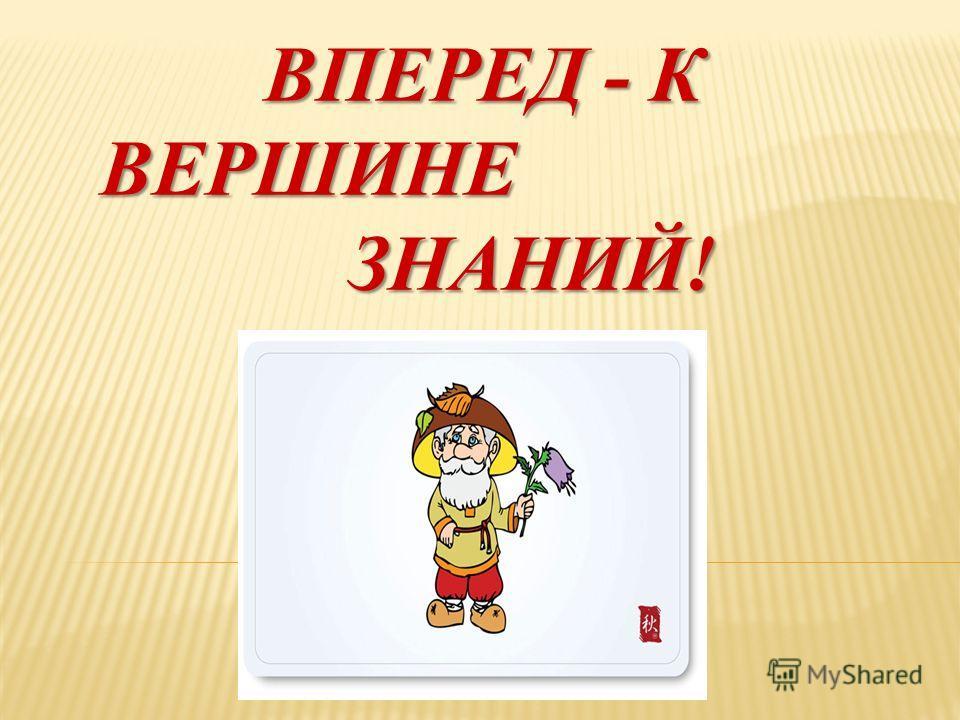 ВПЕРЕД - К ВЕРШИНЕ ЗНАНИЙ!