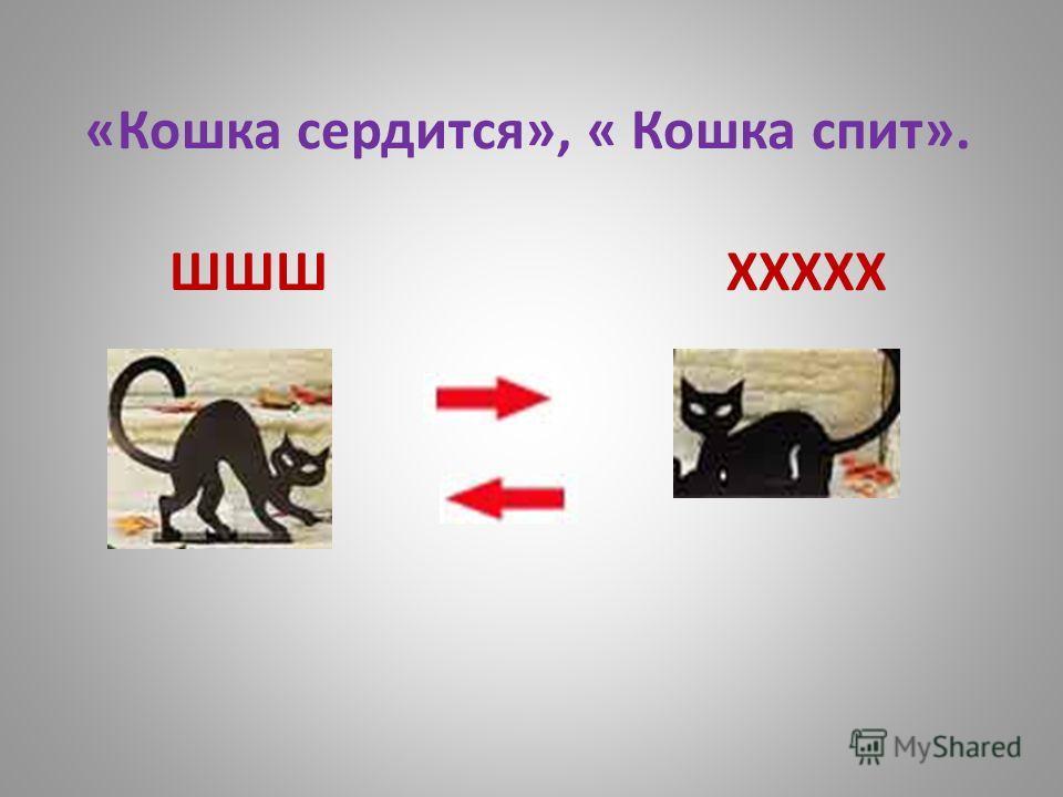 «Кошка сердится», « Кошка спит». ШШШ ХХХХХ