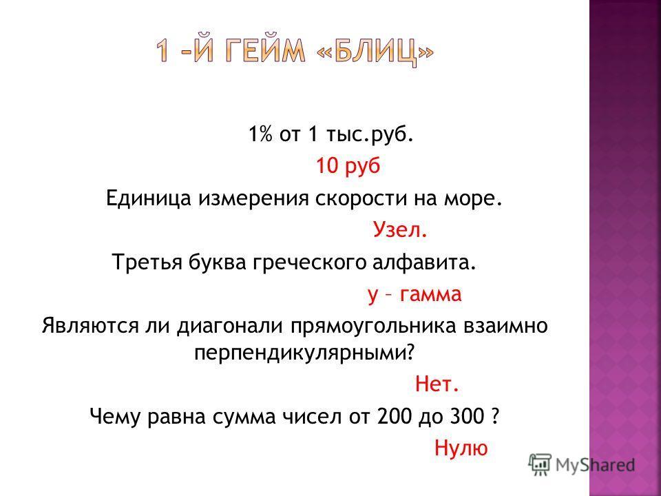 1% от 1 тыс.руб. 10 руб Единица измерения скорости на море. Узел. Третья буква греческого алфавита. y – гамма Являются ли диагонали прямоугольника взаимно перпендикулярными? Нет. Чему равна сумма чисел от 200 до 300 ? Нулю