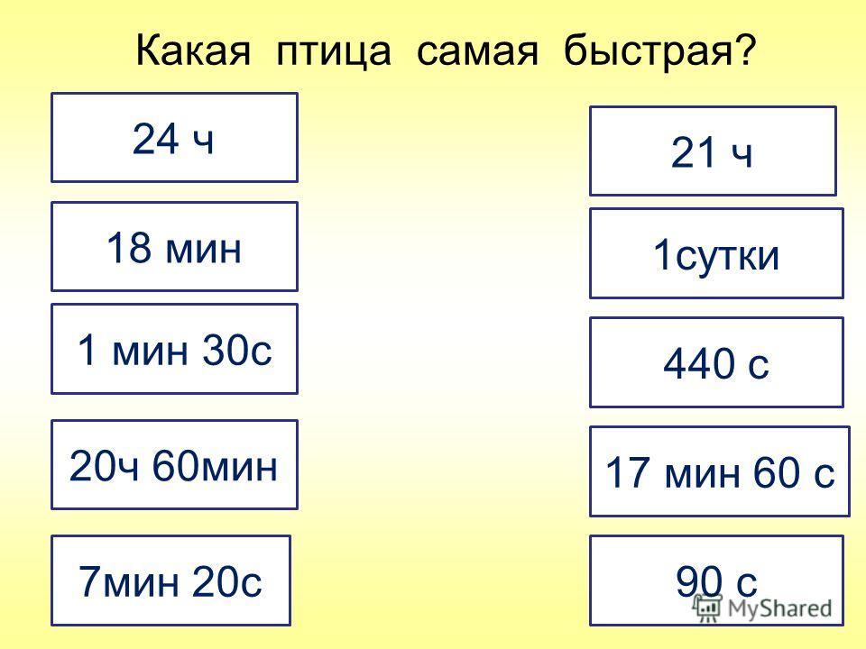 24 ч 21 ч 18 мин 1 мин 30с 7мин 20с 17 мин 60 с 90 с 1сутки 440 с 20ч 60мин Какая птица самая быстрая?