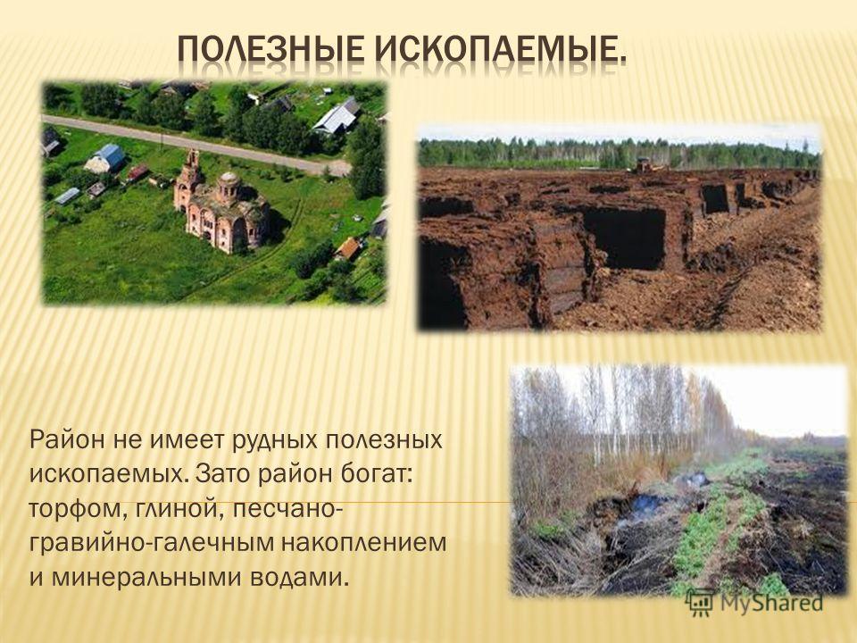 Район не имеет рудных полезных ископаемых. Зато район богат: торфом, глиной, песчано- гравийно-галечным накоплением и минеральными водами.