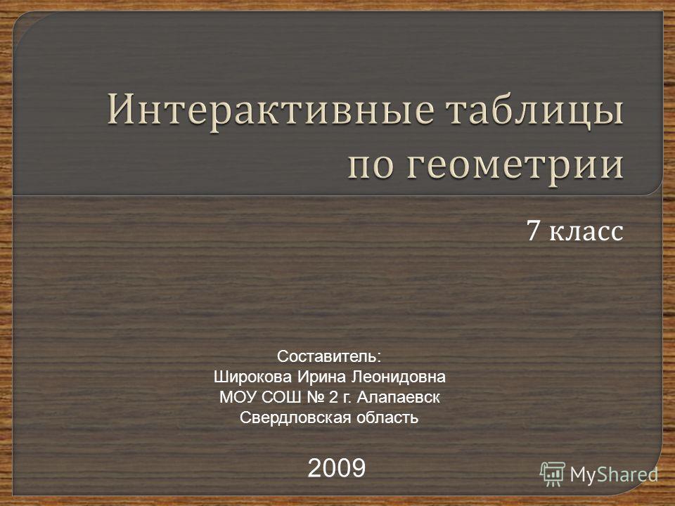 7 класс Составитель: Широкова Ирина Леонидовна МОУ СОШ 2 г. Алапаевск Свердловская область 2009