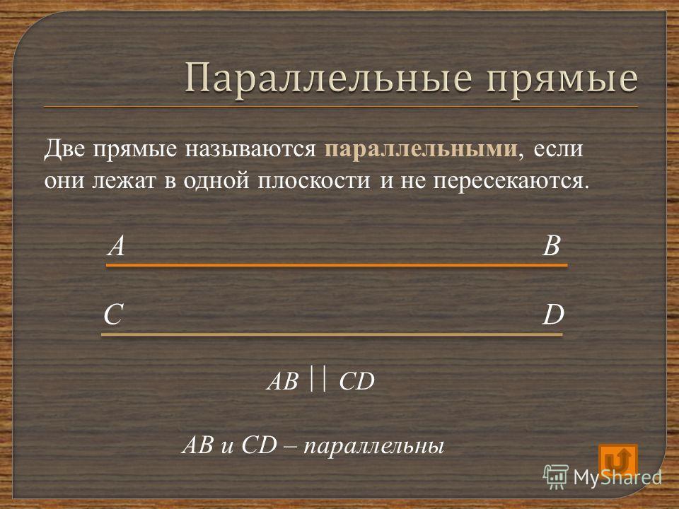 Две прямые называются параллельными, если они лежат в одной плоскости и не пересекаются. АВ СD AB CD АВ и CD – параллельны