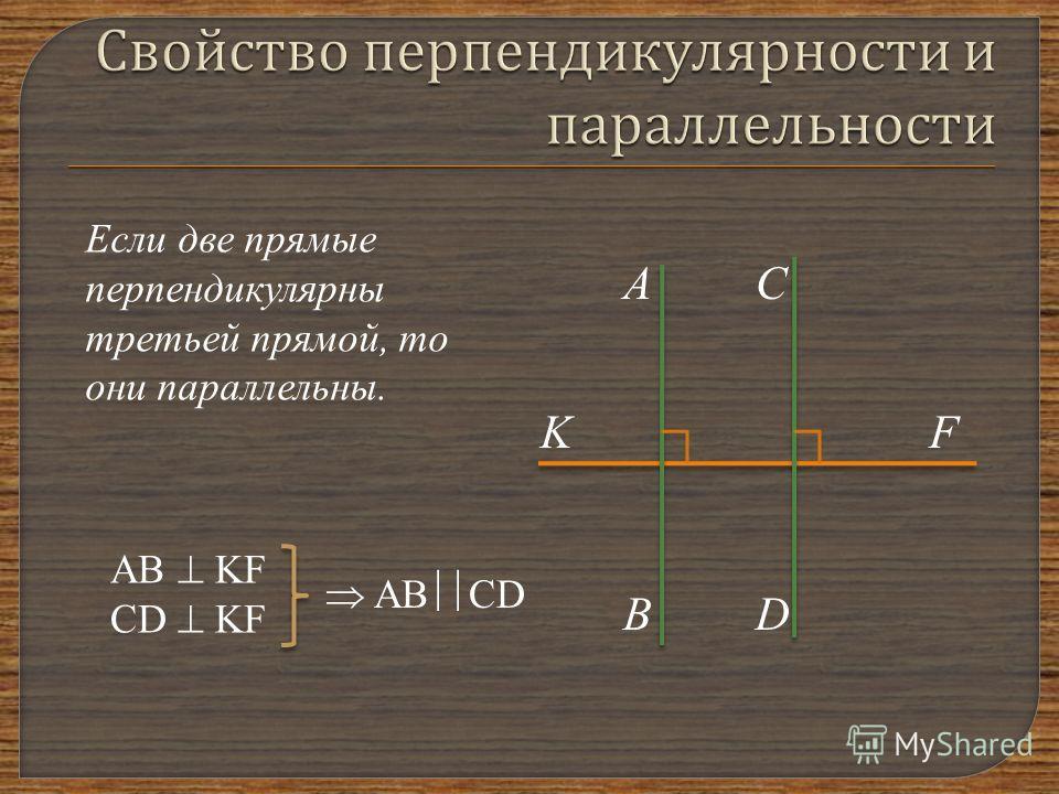 Если две прямые перпендикулярны третьей прямой, то они параллельны. А В С D KF AB KF CD KF AB CD