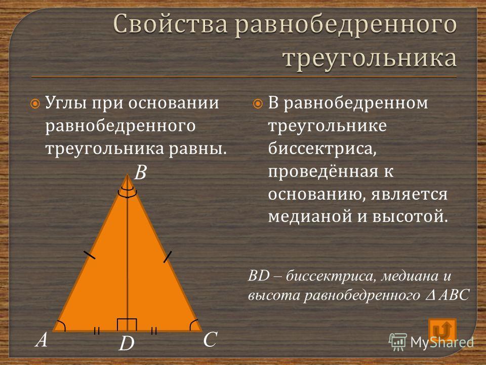 Углы п ри о сновании равнобедренного треугольника р авны. В р авнобедренном треугольнике биссектриса, проведённая к основанию, я вляется медианой и в ысотой. АС В D BD – биссектриса, медиана и высота равнобедренного АВС