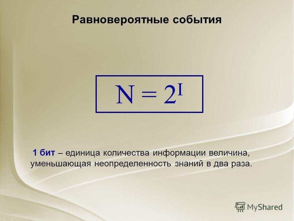 Равновероятные события 1 бит – единица количества информации величина, уменьшающая неопределенность знаний в два раза. N = 2 I