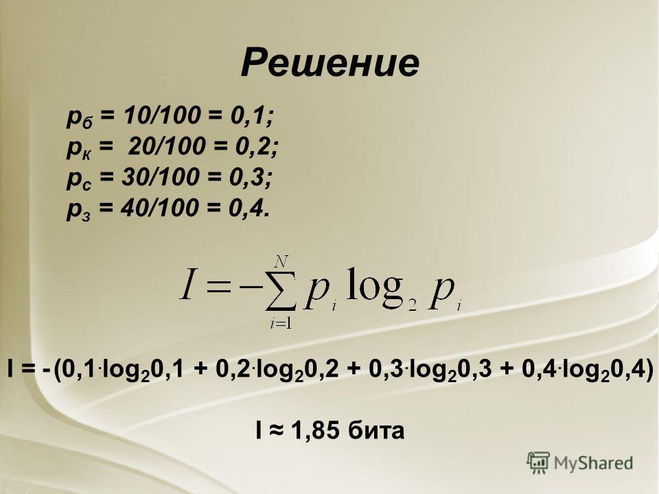 Решение р б = 10/100 = 0,1; р к = 20/100 = 0,2; р с = 30/100 = 0,3; р з = 40/100 = 0,4. I = - (0,1. log 2 0,1 + 0,2. log 2 0,2 + 0,3. log 2 0,3 + 0,4. log 2 0,4) I 1,85 бита