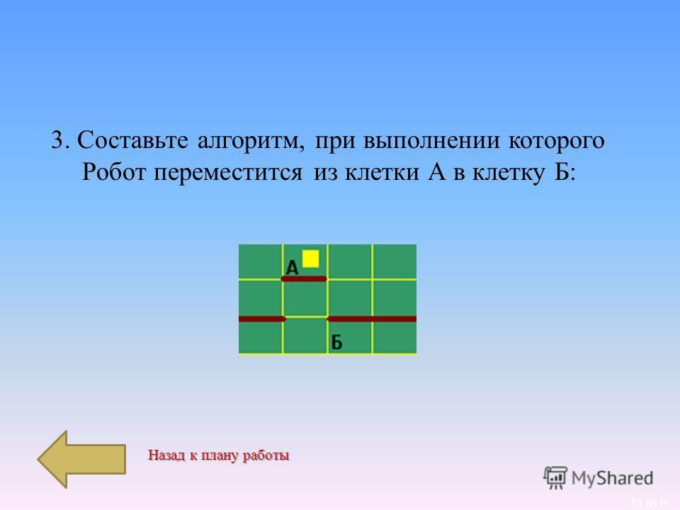 13 из 9 3. Составьте алгоритм, при выполнении которого Робот переместится из клетки А в клетку Б : Назад к плану работы