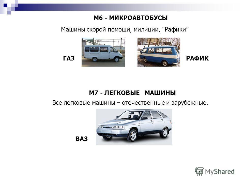 М6 - МИКРОАВТОБУСЫ Машины скорой помощи, милиции, Рафики ГАЗРАФИК М7 - ЛЕГКОВЫЕ МАШИНЫ Все легковые машины – отечественные и зарубежные. ВАЗ