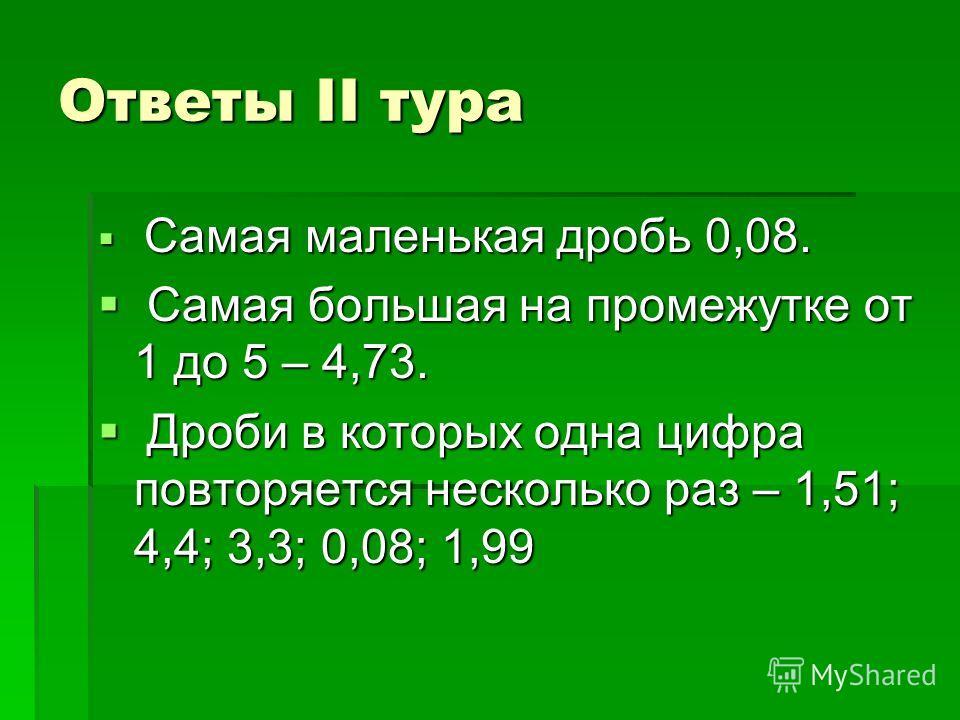 Ответы II тура Самая маленькая дробь 0,08. Самая маленькая дробь 0,08. Самая большая на промежутке от 1 до 5 – 4,73. Самая большая на промежутке от 1 до 5 – 4,73. Дроби в которых одна цифра повторяется несколько раз – 1,51; 4,4; 3,3; 0,08; 1,99 Дроби