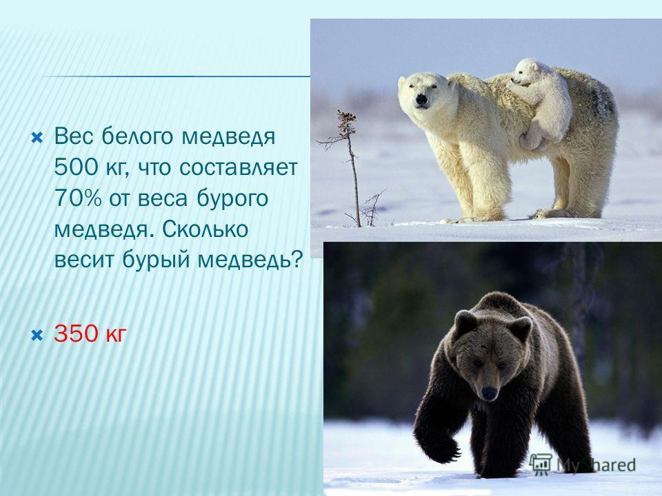 Вес белого медведя 500 кг, что составляет 70% от веса бурого медведя. Сколько весит бурый медведь? 350 кг