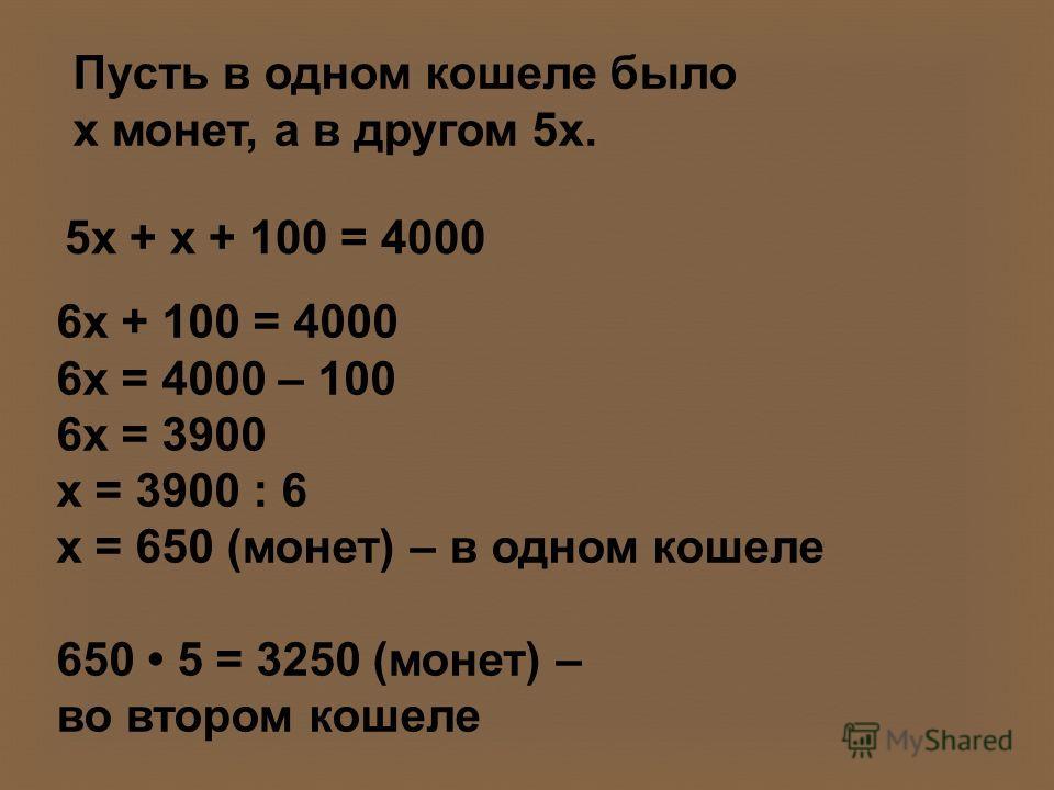 Пусть в одном кошеле было х монет, а в другом 5х. 5х + х + 100 = 4000 6х + 100 = 4000 6х = 4000 – 100 6х = 3900 х = 3900 : 6 х = 650 (монет) – в одном кошеле 650 5 = 3250 (монет) – во втором кошеле