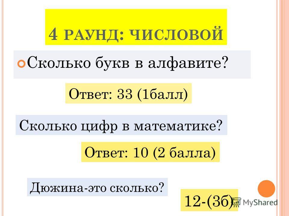 4 РАУНД : ЧИСЛОВОЙ Сколько букв в алфавите? Ответ: 33 (1балл) Сколько цифр в математике? Ответ: 10 (2 балла) Дюжина-это сколько? 12-(3б)